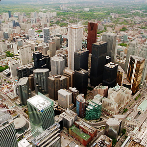 City centre with skyscrapers