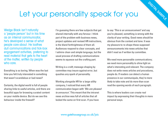 Let your personality speak for you