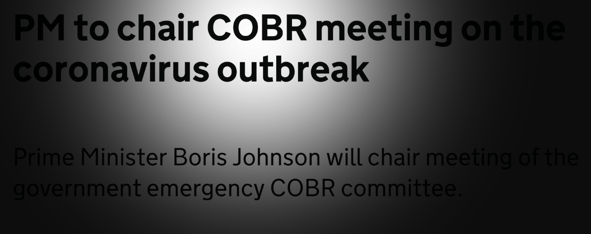 A headline from the Gov UK website that's been twisted to focus on the COBR acronym.